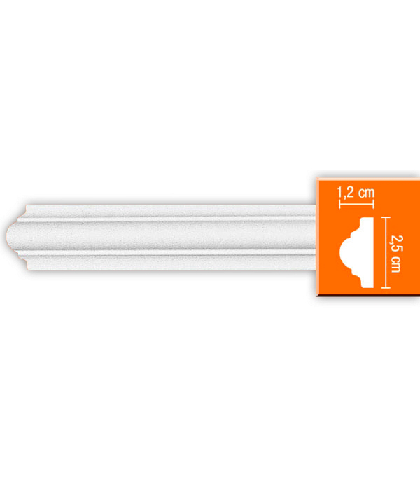 Плинтус (молдинг) из полиуретана 12х25х2400 мм Decomaster плинтус молдинг 42х42х2400 мм decomaster прованс