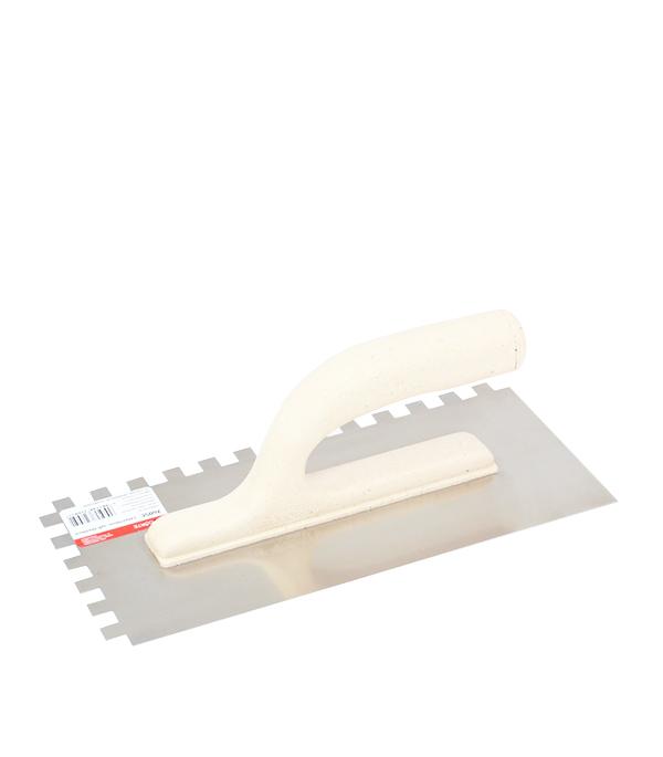 Гладилка зубчатая 270х130 мм зуб 10 х 10 мм с облегченной ручкой Corte гребенка из нержавеющей стали corte 0416