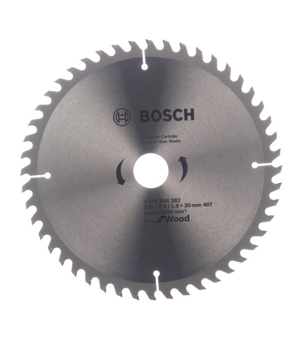 Диск пильный по дереву Bosch Optiline ECO (2608644382) 230х30х2,5 мм 48 зубьев диск пильный bosch eco wood 230 ммx30 мм 48зуб 2608644382