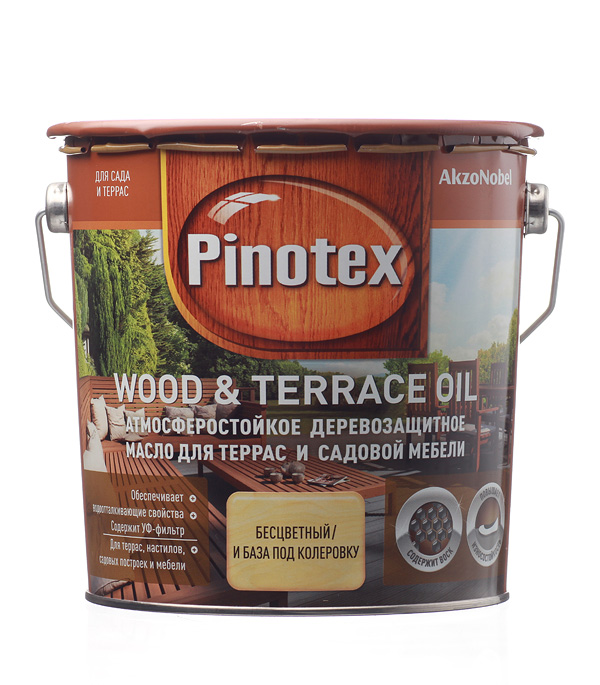Масло для террас Pinotex Wood&Terrace Oil бесцветное 2.7 л масло для террас alpina oel fuer terrassen 0 75 л
