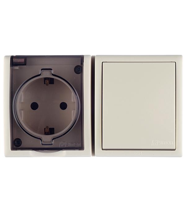 Блок: розетка с заземлением Schuko 16А 250В+выключатель одноклавишный 10А 250В IP54 слоновая кость цена и фото