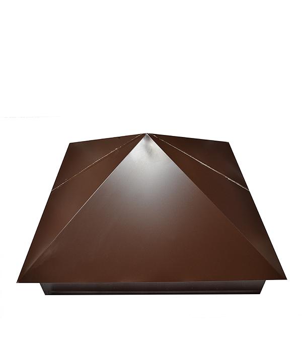 Колпак на столб 400х400 мм коричневый RAL 8017