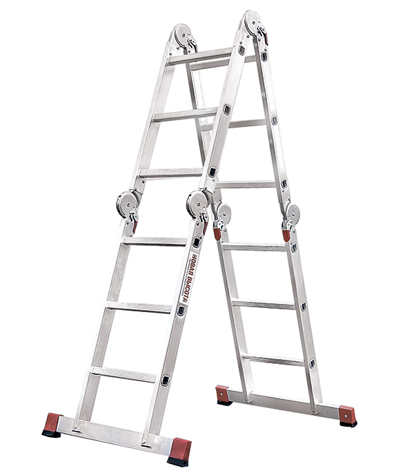 Лестница Новая высота 4-х секционная шарнирная 4х3 лестница алюминиевая приставная krause tribilo 121301