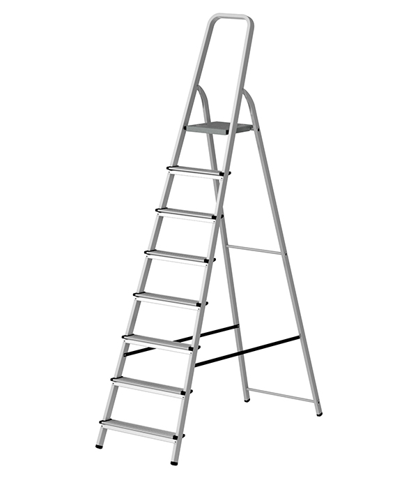 Стремянка Kroft алюминиевая 8 ступеней свободностоящая стремянка krause monto solidy 8 ступенек рабочая высота 3 7 м 126269