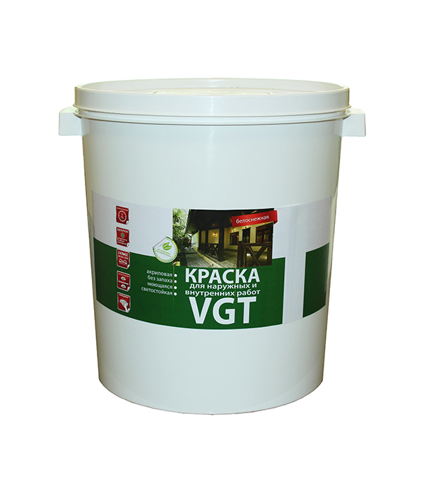 Краска в/д моющаяся белоснежная матовая VGT 45 кг краска мелкофактурная vgt 9 кг