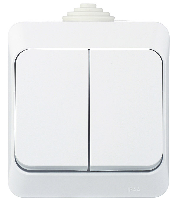 Выключатель двухклавишный о/у IP 44 Schneider Electric Этюд белый выключатель двухклавишный legrandquteo о у белый
