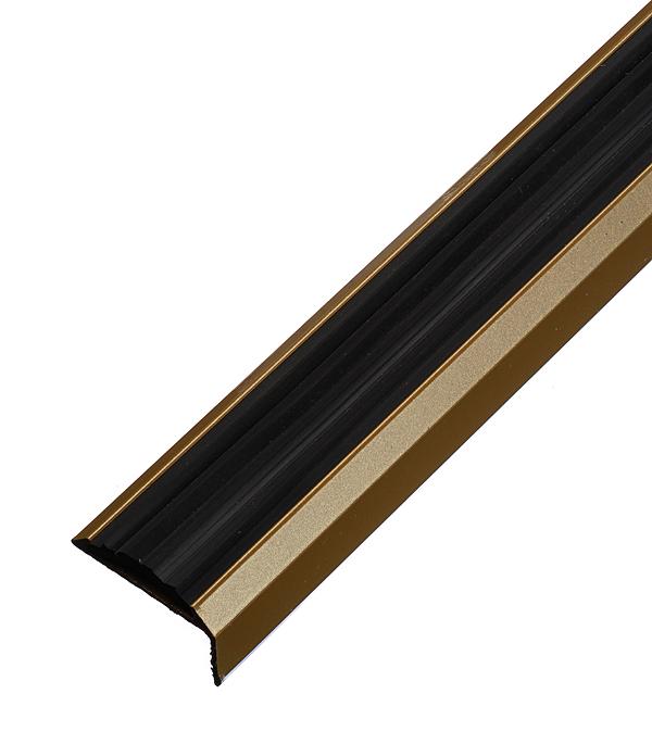цена на Порог для кромок ступеней 37,5х23х1800 мм резиновой вставкой Золото
