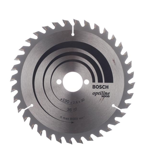 Диск пильный по дереву Bosch Optiline (2608640616) 190х30х2,6 мм 36 зубьев диск отрезной для ручных циркулярных пил bosch optiline wood 2608640613