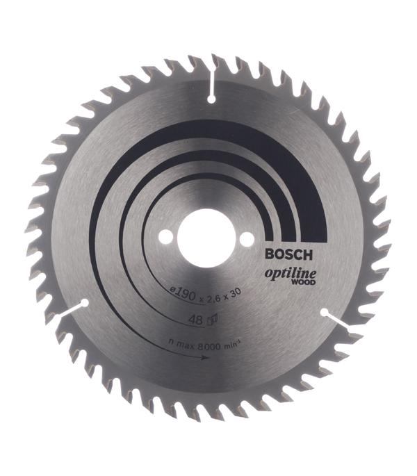 Диск пильный по дереву Bosch Optiline (2608640617) 190х30х2,6 мм 48 зубьев диск отрезной для ручных циркулярных пил bosch optiline wood 2608640613