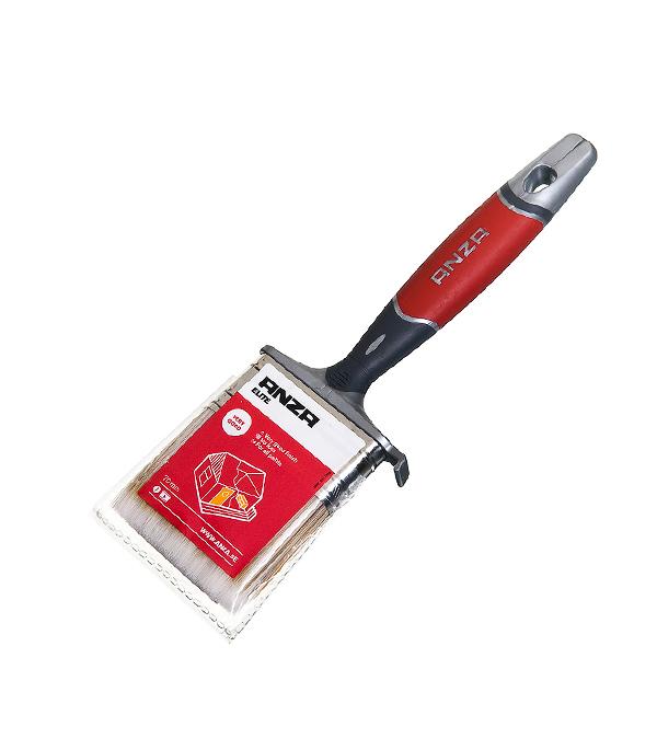 Кисть плоская Anza 70 мм искусственная щетина прорезиненная ручка кисть плоская 60 мм натуральная щетина прорезиненная ручка hardy стандарт