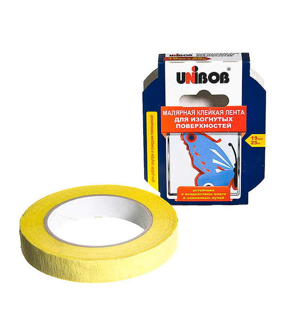 Лента малярная Unibob белая для фигурных линий 19 мм х 25 м