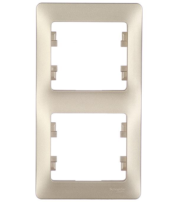 Рамка двухместная вертикальная Schneider Electric Glossa титан рамка schneider electric glossa 284581