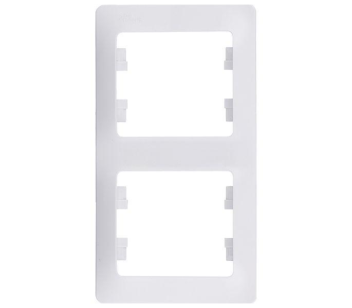 Купить Рамка двухместная вертикальная Schneider Electric Glossa белая, Белый