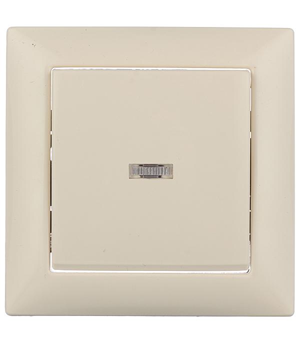 Выключатель одноклавишный Селена с/у с подсветкой слоновая кость 250В 10А выключатель одноклавишный legrandquteo о у влагозащищенный ip 44 белый