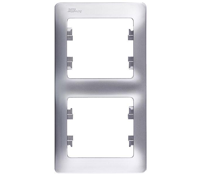Рамка двухместная вертикальная Schneider Electric Glossa алюминий рамка schneider electric glossa 1063724