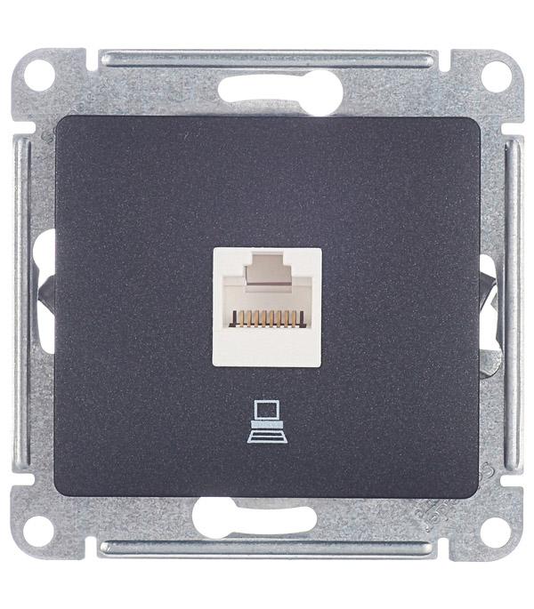 Розетка компьютерная Schneider Electric Glossa GSL000781К скрытая установка антрацит один модуль RJ45 cat 5e