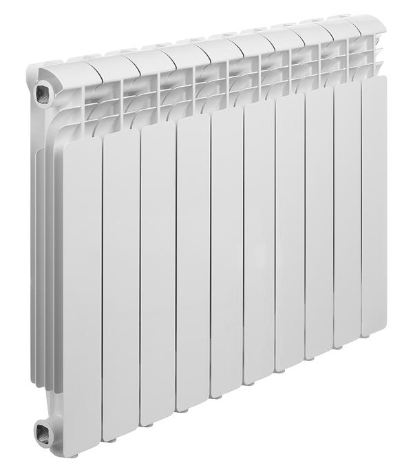Радиатор алюминиевый Global Iseo 500 мм 10 секций 1 боковое подключение белый биметаллический радиатор rifar рифар b 500 нп 10 сек лев кол во секций 10 мощность вт 2040 подключение левое