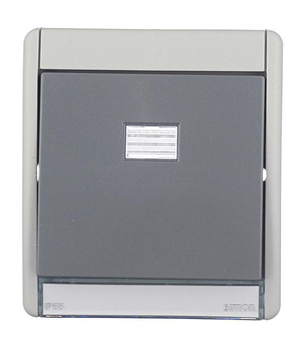 Рамка для одноклавишного выключателя + клавиша под механизмы S27 IP55 S44 Aqua серый gira gira esp glass c белое стекло рамка 1 ая 0211512