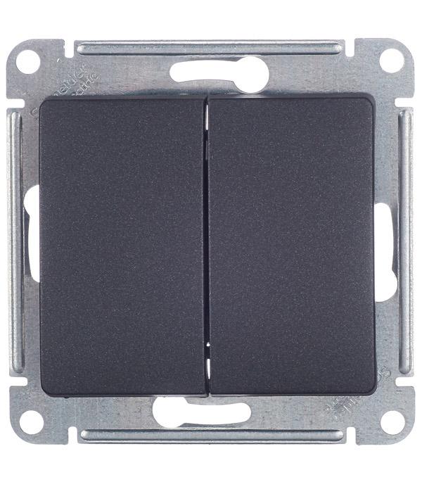 Механизм выключателя двухклавишного с/у Schneider Electric Glossa антрацит реле для двухклавишного выключателя rubetek evo 869 мгц ip20