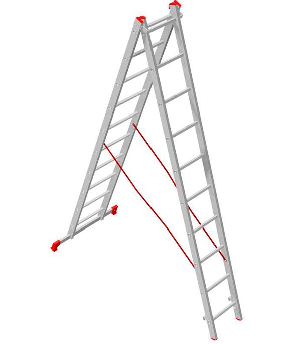 Лестница Новая высота 2-х секционная 2х10 лестница новая высота приставная 10 ступеней