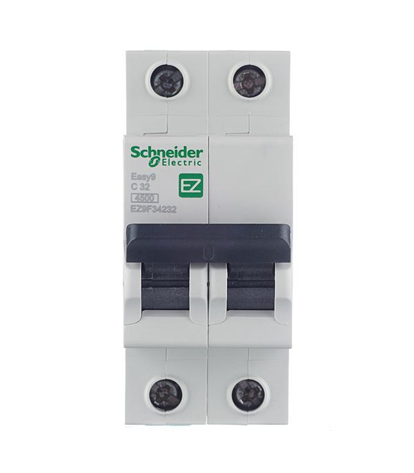 Автомат 2P 32А тип С 4.5 kA Schneider Electric Easy9 автомат 1p 6а тип с 4 5ка schneider electric easy9