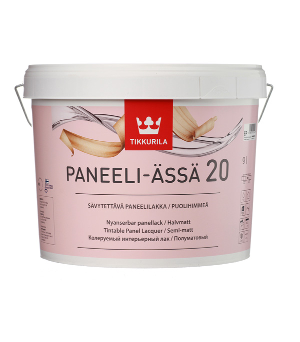 Лак водоразбавляемый Tikkurila Paneeli-Assa основа EP полуматовый 9 л защитный состав д внутр работ paneeli assa ep 9л