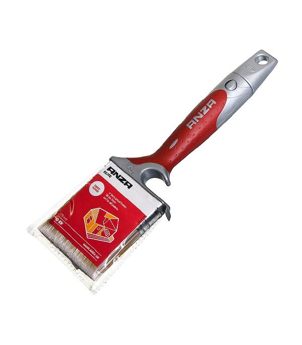 Кисть плоская Anza 75х20 мм искусственная щетина прорезиненная ручка