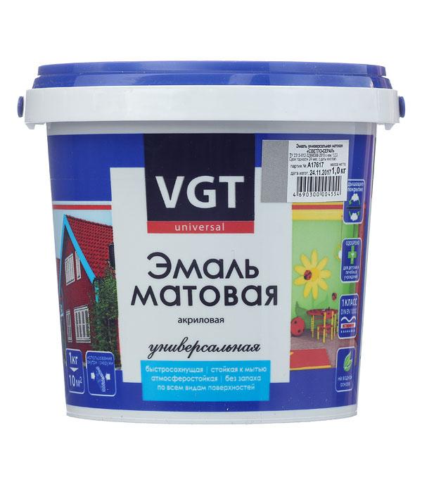 Эмаль акриловая матовая св.серая VGT 1 кг