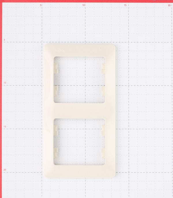 Рамка Schneider Electric Glossa GSL000206 двухместная вертикальная бежевая фото