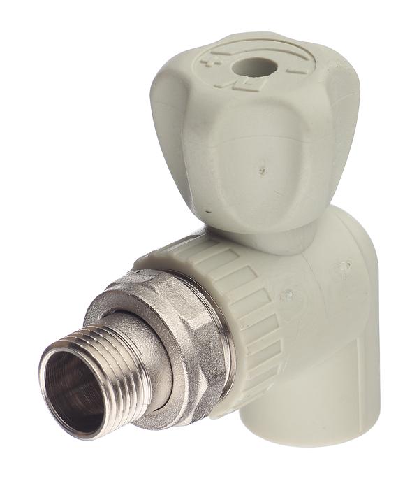 Кран полипропиленовый д/радиатора угловой 20х1/2 НР FV-PLAST серый кран fusitek рад угловой 20х1 2 ft07401