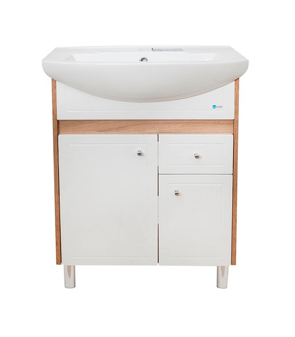 Тумба под раковину АСБ-Мебель Магнолия 600 мм  напольная дуб янтарный/бел