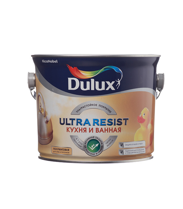 Краска водно-дисперсионная Dulux Ultra Resist кухня и ванная моющаяся белая основа BW 2,5 л