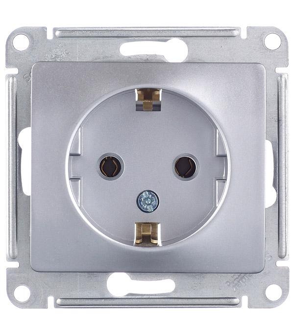Механизм розетки с/у  с заземлением  Schneider Electric Glossa алюминий цены