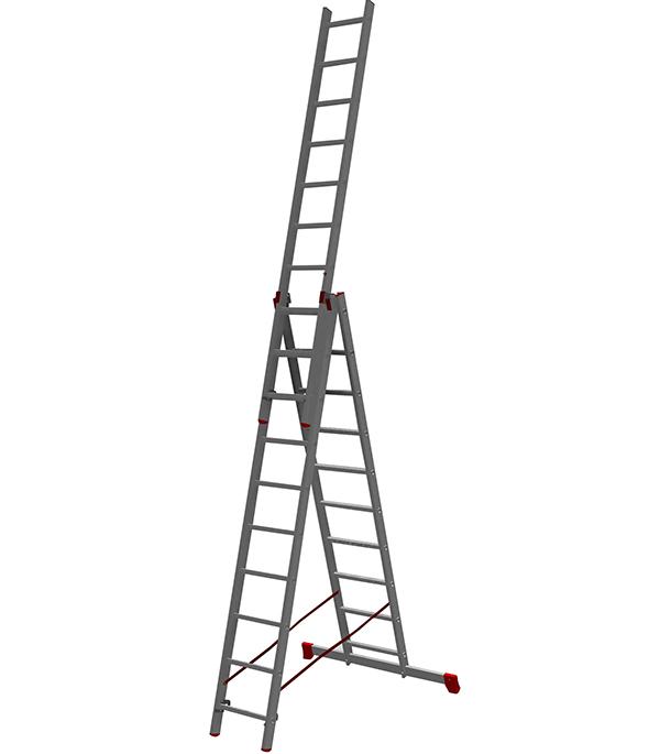 Лестница трансформер Новая высота трехсекционная алюминиевая 3х10 профессиональная