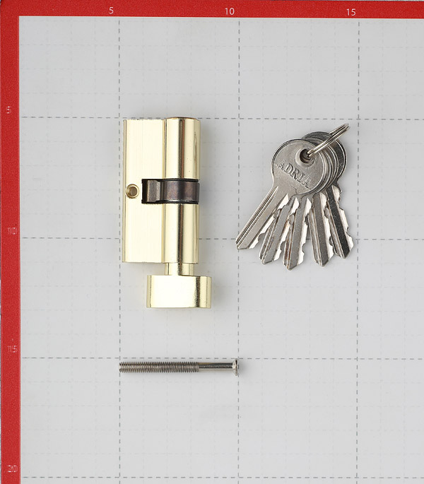 Цилиндр Adria 2018 60 (30х30) мм ключ-вертушка золото