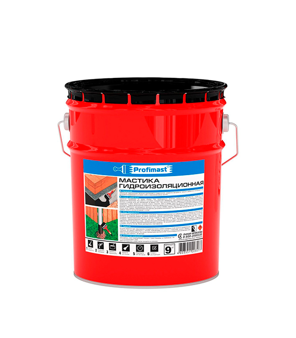 Купить Мастика гидроизоляционная Profimast 9 кг/10 л, Черный
