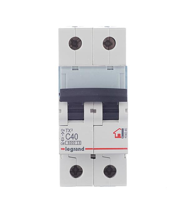 Автомат 2P 40А тип С 6 kA Legrand TX3 автомат 1p 40а тип с 6 ka legrand tx3