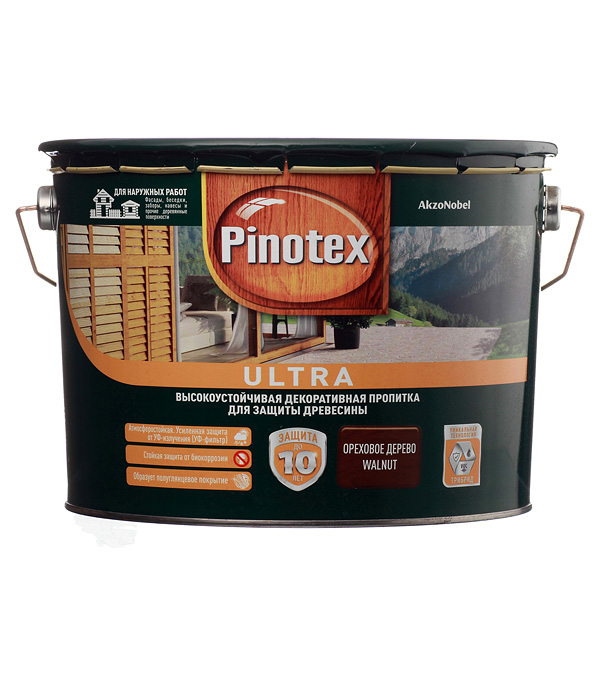 Декоративно-защитная пропитка для древесины Pinotex Ultra орех 9 л