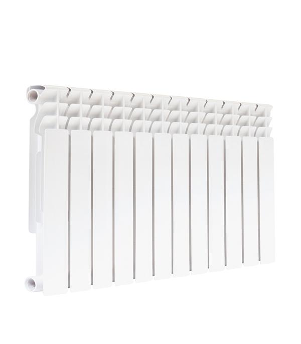 Радиатор биметаллический 500 мм 12 секций 1 боковое подключение белый биметаллический радиатор rifar рифар b 500 нп 10 сек лев кол во секций 10 мощность вт 2040 подключение левое