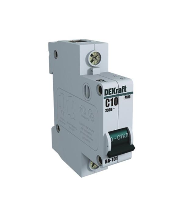 Автоматический выключатель Dekraft BA-101 (11053DEK) 1P 10А тип C 4,5 кА 230-400 В на DIN-рейку
