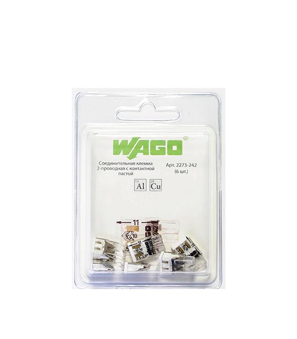 Купить Зажим клемма Wago 2273-242 на 2 провода 0, 5-2, 5 мм кв с пастой 6 шт