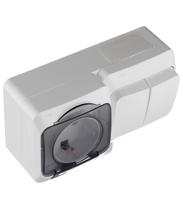 Блок выключателя с розеткой Schneider Electric Этюд BPA16-242B двухклавишный открытая установка белая с крышкой со шторками фото
