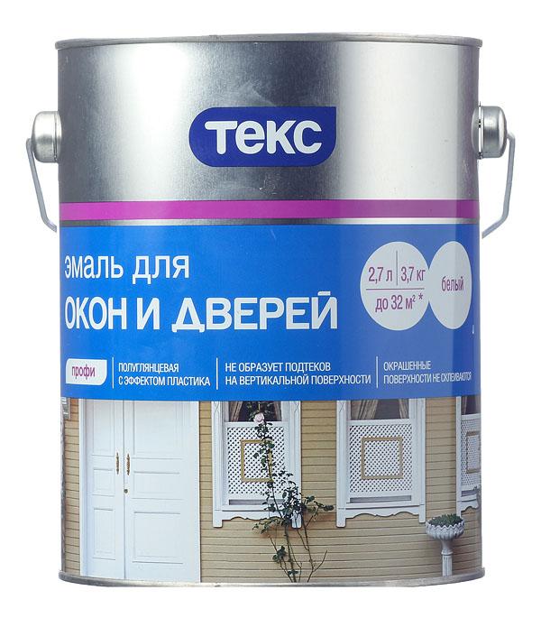 Эмаль алкидная Текс Профи для окон и дверей белая полуглянцевая 3.7 кг эмаль грунт текс ржаво stop алкидная 0 9кг белая