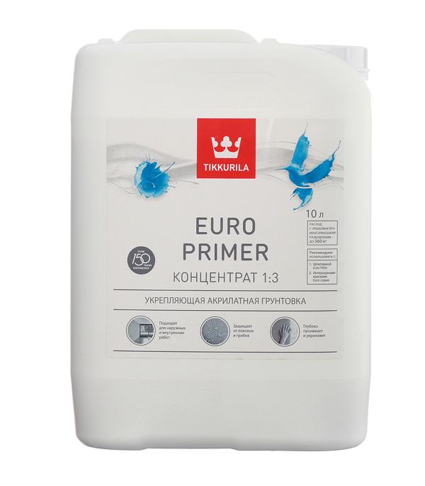Купить Грунт Euro Primer концентрат Тиккурила 10 л, Tikkurila, Прозрачный
