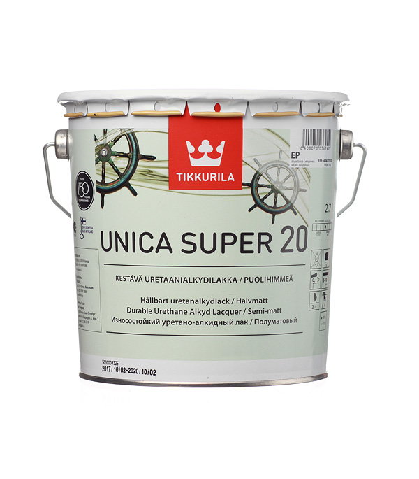цена на Яхтный лак Tikkurila Unica Super основа EP полуматовый 2.7 л