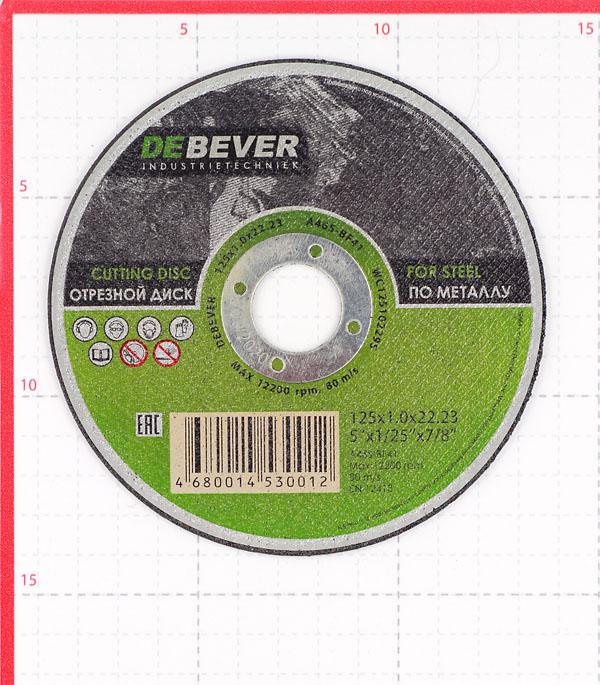 Круг отрезной по металлу Debever 125х22х1 мм фото