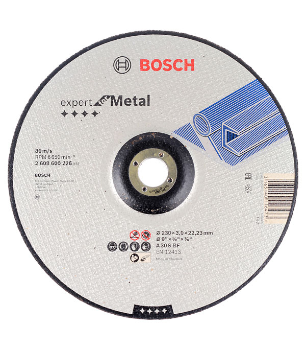 Круг отрезной по металлу Bosch 230х22х3 мм вогнутый круг зачистной по металлу bosch 150х22х6 мм вогнутый