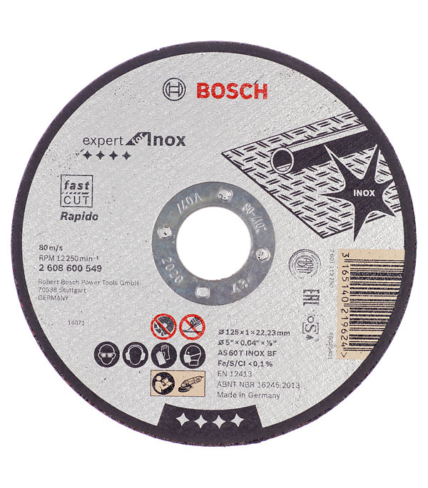 Круг отрезной по нержавеющей стали Bosch Inox 125х22х1 мм круг отрезной по нержавеющей стали 125х22х1 2 debever