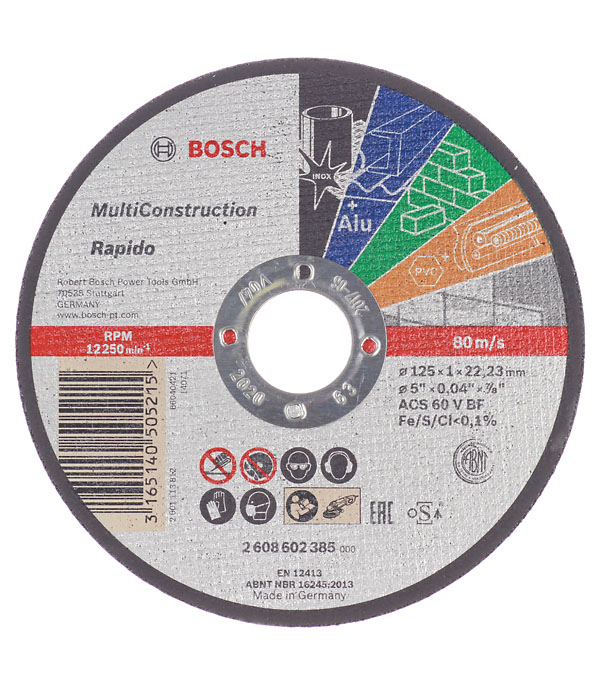 Круг отрезной Bosch Multiconstruct 125х22х1 мм круг отрезной по нержавеющей стали 125х22х1 2 debever