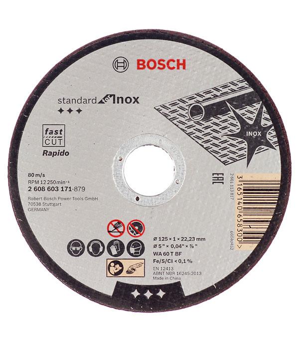 Круг отрезной по металлу и нержавеющей стали Bosch Стандарт 125х22х1 мм круг отрезной по нержавеющей стали 125х22х1 2 debever